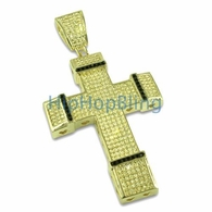 Lemonade & Black Gold CZ Micro Pave Bling Bling Cross