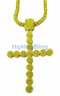 Lemonade Cluster Cross & 1 Row Chain Iced Out Jewelry Set