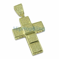 Lemonade Ice Cube Bling Bling Cross CZ Micro Pave Pendant