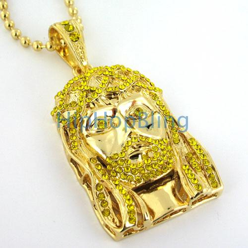 Lemonade Iced Out Jesus Piece & Rosary Chain