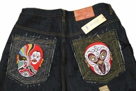 MASK Face Full Embroidered Indigo Blue Denim Jeans NWT
