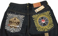 MASK Face / YIN YANG Full Embroidered Indigo Blue Denim Jeans NWT