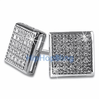 Medium Box CZ Micro Pave Bling Earrings .925 Silver