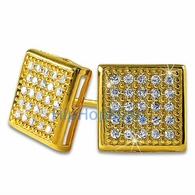 Medium Box Vermeil CZ Micro Pave Bling Earrings .925 Silver