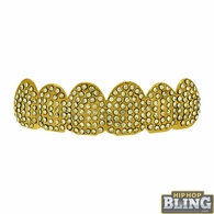 Mega Bling Bling Gold Grillz Top Teeth