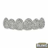 Mega Bling Bling Silver Grillz Top Teeth