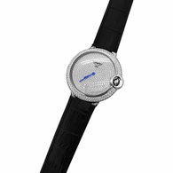 Mens CZ Pave Rounded Steel Black Leather Watch
