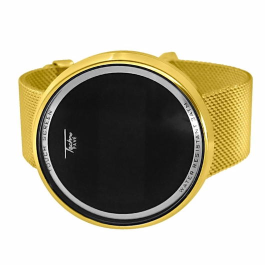 Mesh Band Gold Round Digital Touch Screen Watch