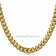 "Miami Cuban Chain 9MM 36"" Gold Plated"