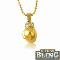 Micro 3D Boxing Glove Bling Bling Gold Steel Pendant