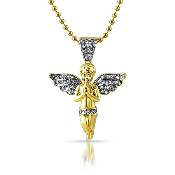 Micro angel praying gold cz pendant angel pendants mbp924g micro angel praying gold cz pendant aloadofball Image collections