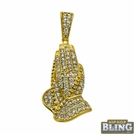 Mini 14K Gold Praying Hands .95cttw Diamond Pendant