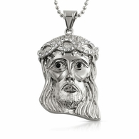 Mini Jesus Pendant Bling Crown Stainless Steel