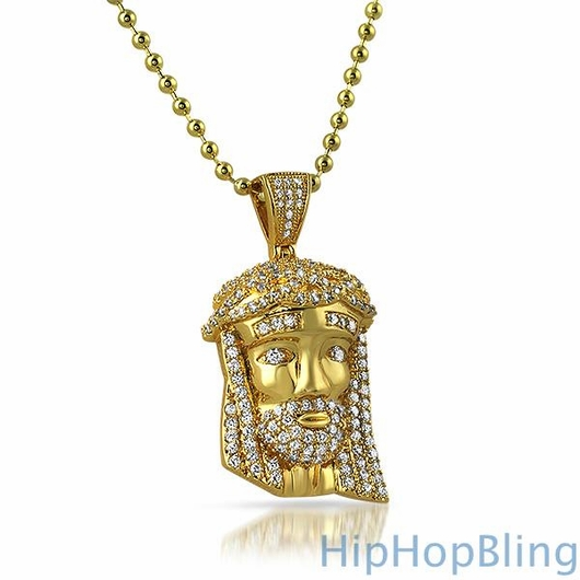 Mini Jesus Piece Gold Pendant .925 Sterling Silver