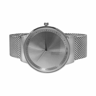 Minimalistic All Silver Mesh Band Watch