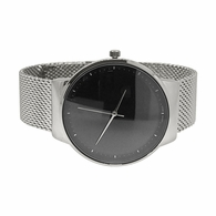 Minimalistic Black Dial Silver Mesh Band Watch