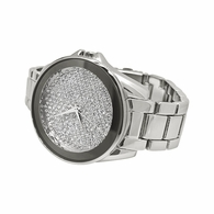 Mirror Bezel Silver Bling Bling Watch