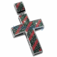 Italy Colors Red & Green Striped Diagonal Iced Out Cross