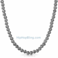 Moon Cut Chain 5MM Rhodium Necklace
