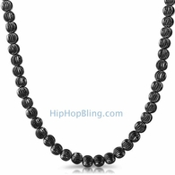 Moon Cut Chain 7MM Black Necklace