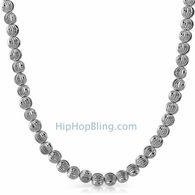 Moon Cut Chain 7MM Rhodium Necklace