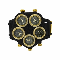New 5 Time Zone Black and Gold Bling Bling Watch