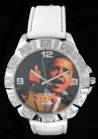 Obama 08 #1 Thumbs Up Iced Out White Leather Silver Watch