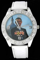 Obama 08 #3 Capital Picture White Leather Silver Hiphop Watch