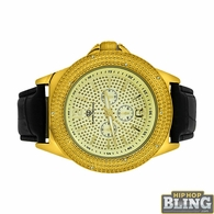 Pave Super Techno Genuine Diamond Hip Hop Watch Gold