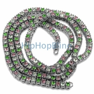 Pink Green White Ice Alternating Custom Bling Bling Chain