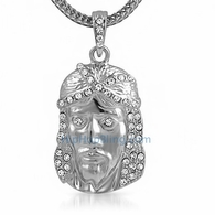 Platinum Jesus Piece Pendant & Chain Small