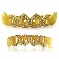 Polished 4 Open Tooth CZ Bling Gold Grillz Set