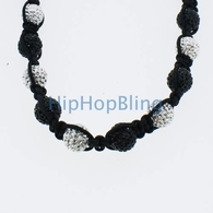 Premium Black & White Disco Ball Necklace Black Rope