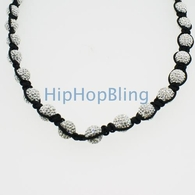 Premium Dico Ball Bling Bling Necklace White Beads
