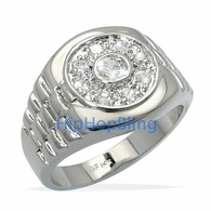 Presidential CZ Rhodium Plated Mens CZ Hip Hop Ring