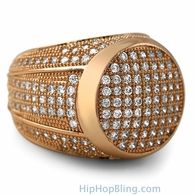 Presidential Rose Gold CZ Bling Bling Ring