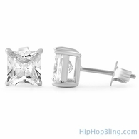 Princess Cut CZ Stud Earrings .925 Silver