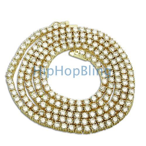 Quality Prong Set CZ Diamond Gold 1 Row Bling Bling Chain