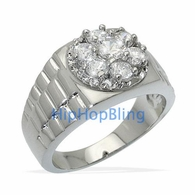 Radiant Ice Mens CZ Rhodium Plated Hip Hop Ring