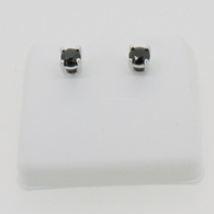 10K White Gold Black Diamond Earrings .50cttw Studs