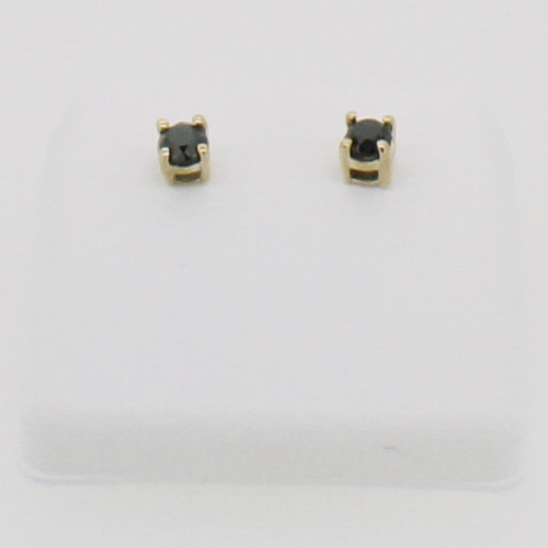 10K Gold Black Diamond Earrings .75cttw Studs