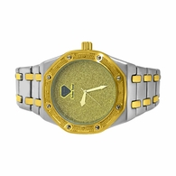 Real Diamond 2 Tone Octagon Bling Watch