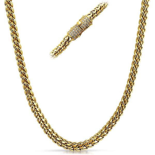 Real diamond 6mm stainless steel gold franco chain diamond hip real diamond 6mm stainless steel gold franco chain mozeypictures Gallery