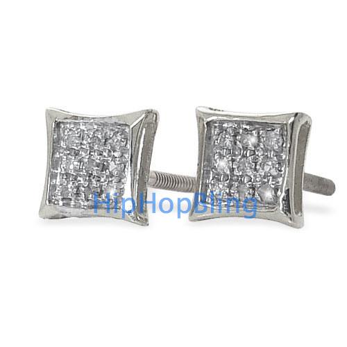 Real Diamond Hip Hop Earrings Kite .05 Carats 10k White Gold