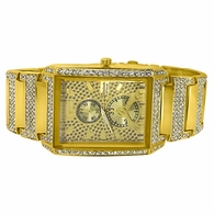 Rectangle Iced Designer Gold Bling Bling Watch