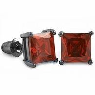 Red CZ Diamond Square Stud Earrings Black