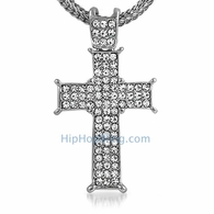 Rhodium Prong Cross Bling Bling & Chain Small
