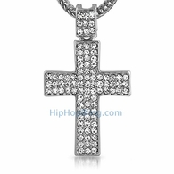 Rhodium Triple Bling Bling Cross & Chain Small