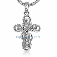 Ribbon Bling Cross Pendant & Chain Small