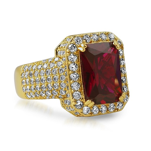 Rick Ross Style Gold Iced Out Lab Ruby Bling Ring Gold Cz Iced Out Rings Mbr69reg